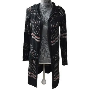 HOOKED UP Hooded Long Cardigan Sweater~Jr. Small